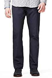Autograph Pure Cotton Stay Dark Tailored Fit Flat Front Trousers