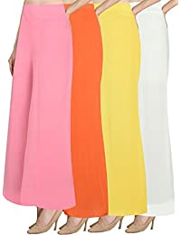 NGT Women's Stylish Baby Pink, Orange, White And Yellow Premium Lycra Fit Plazzo