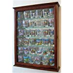36 Souvenir Shot Glass Display Case Shadow Box Wall Mounted Cabinet, Mirror Background, Walnut Finish (SCD06B-WA)