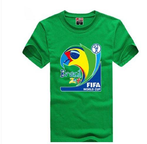 2014 Fifa World Cup Brazil Mascot Armadillo Women Men Short T-Shirt, Small,Green
