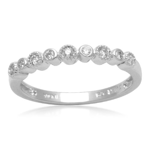Sterling Silver Bezel-Set Diamond Wedding Anniversary Ring (1/10 cttw, I-J Color, I2-I3 Clarity), Size 6