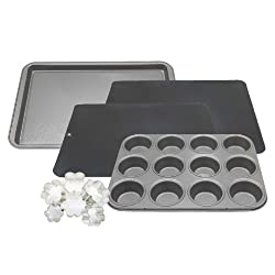 Kaiser Bakeware 4-Piece Noblesse Non-Stick Cookie/Muffin Set with Bonus Cookie Cutters