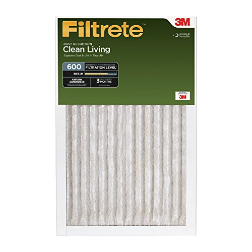 Filtrete Clean Living Dust Reduction, MPR 600, 16-Inch x 25-Inch x 1-Inch, 6-pack