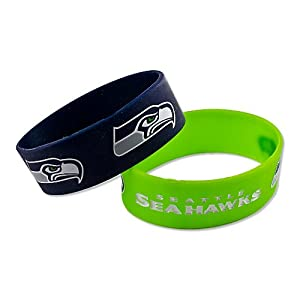 NFL Seattle Seahawks Silicone Rubber Bracelet Set, 2-Pack