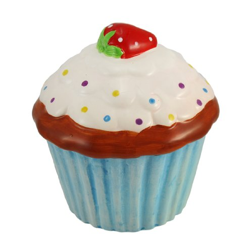 Ceramic Strawberry Cupcake Coin Bank Blue Liner - 1