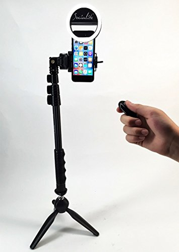 SOCIALITE Mini LED Photo Live Video Tabletop Ring Light Kit, Incl Tripod Stand, Selfie Stick Monopod, Bluetooth Remote, Universal Mounts iPhone 6 6s Plus Samsung & Large Smartphones Portable Dimmable (Led Tabletop Light compare prices)