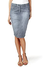 Per Una Cotton Rich Ticking Striped Denim Pencil Skirt