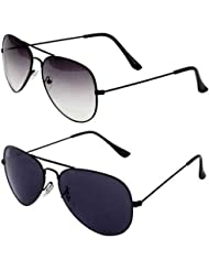 COMBO OF STYLISH BLACK WHITE AVIATOR GOGGLES AND BLACK AVIATOR SUNGLASSES WITH 2 BOX