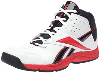 Reebok Laniack Basketball Shoe (Little Kid/Big Kid),White/Black/Redtastic,1.5 M US Little Kid