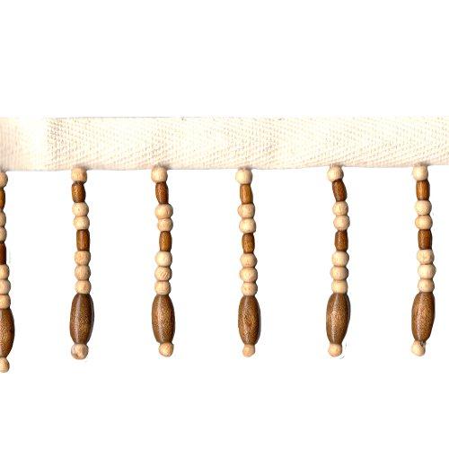Venus Ribbon 2-Inch Novelty Beaded Fringe, Natural/Brown, 3-Yard