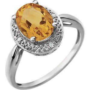 14kt White Citrine & .02 CTW Diamond Ring