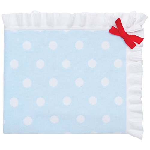 "Elegant Baby 100% Cotton Sweater Knit Blanket, Blue with Polka Dots and Red Ribbon Accent, 30"" X 40"""