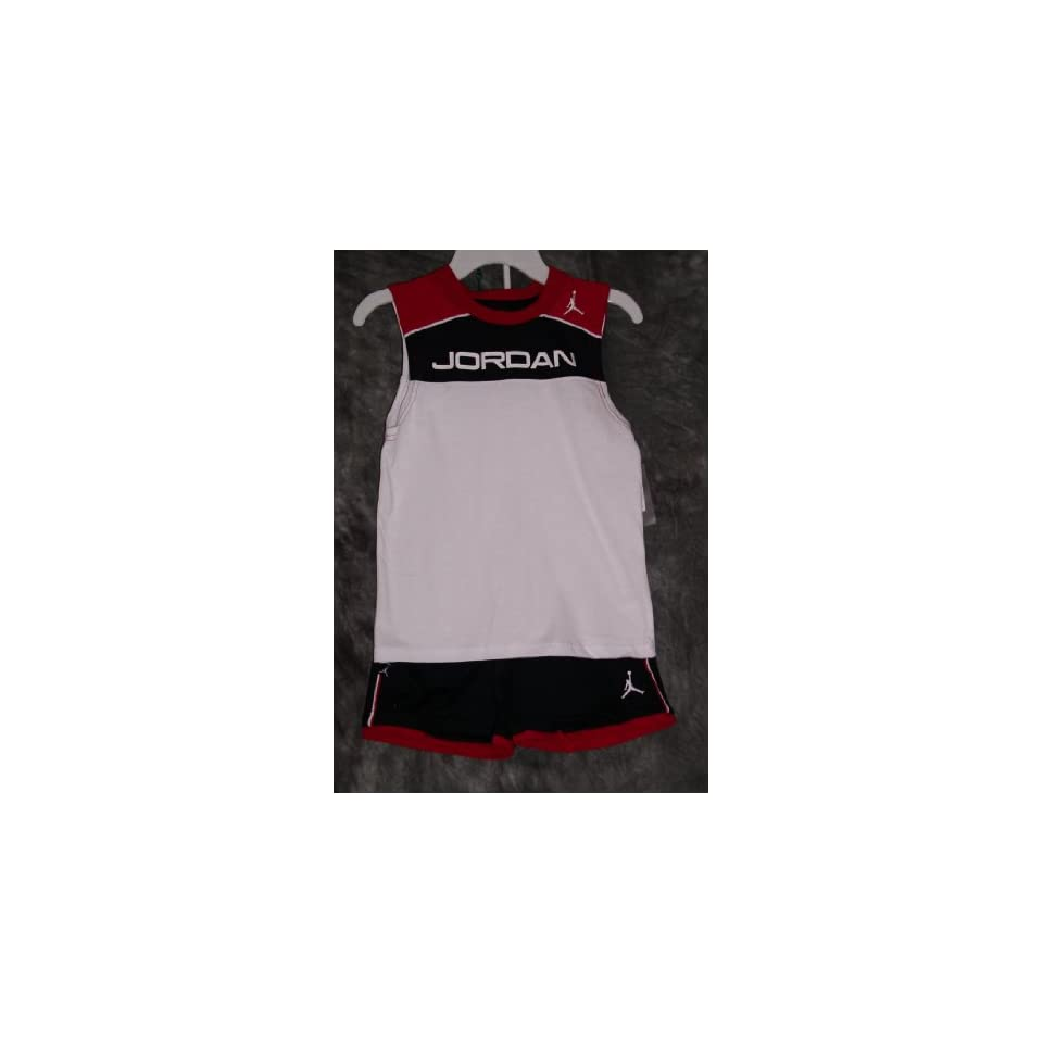Nike Air Jordan Flight Boys Tank & Short 2 Piece Set, Black/Red/White (4)  Athletic Tracksuits  Sports & Outdoors