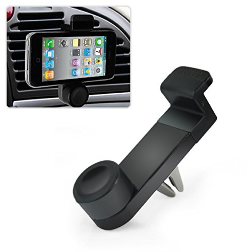 Universal Car Air Vent Mobile Phone Mount Holder Dock compatible with iPhone 6/5S/5C/4s, Samsung Galaxy Note 2/3/4 Galaxy S5, S4, S3, LG G3 G2, HTC One M7 M8, Nokia Lumia, Nexus 4/5, Blackberry and other smartphones (Black) (Iphone 5s Car Vent Holder compare prices)