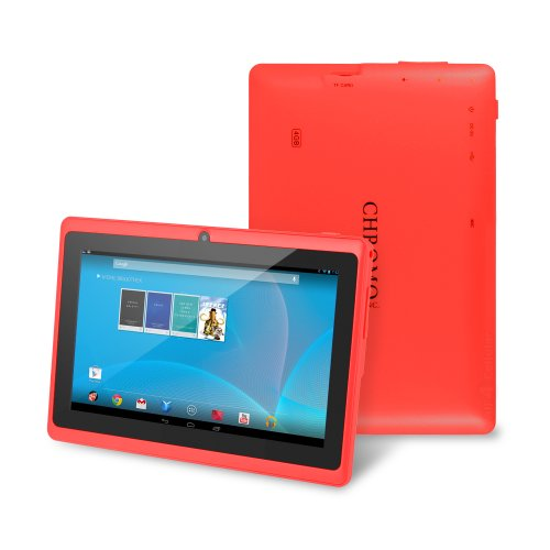 "Chromo Inc® 7"" Tablet Google Android 4.1 With Touchscreen, Camera, 1024X600 Resolution, Netflix, Skype, 3D Game Supported - Red [New Model June 2014]"