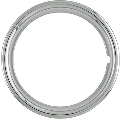 "Set of 4 Chrome Plated ABS Plastic 13"" Universal 1.75 inch Beauty Trim Rings 13P"