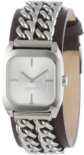 Esprit - ES102642001 - Montre Mixte - Quartz Analogique - Cadran Argent - Bracelet Cuir Noir