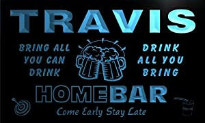 q45509-b TRAVIS Family Name Home Bar Beer Mug Cheers Neon Light Sign