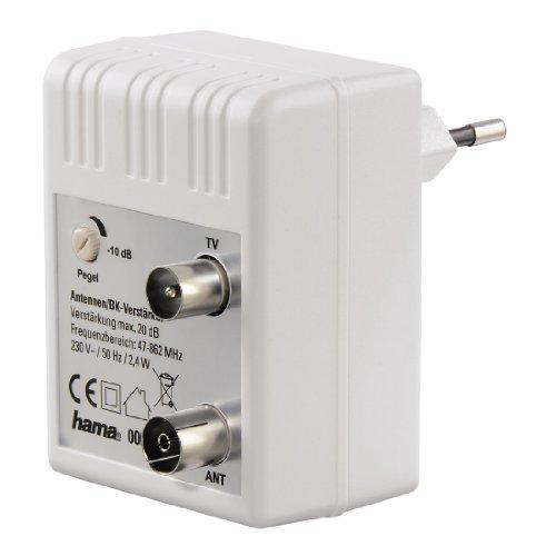 Antennen-Verstärker für Kabel TV/ DVB-T/ Radio (regulierbar, Koax-Buchse/Koax-Stecker, Signalverstärkung bis zu 20 dB) weiß