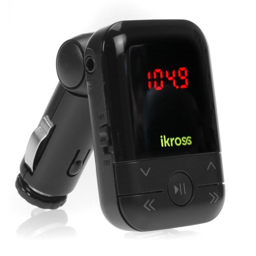 iKross Nefarious 3.5mm LED Car FM Radio Transmitter with USB/SD/MMC USB SD Card Space For MP3 Player, SmartPhone, iPhone, Tablets and more