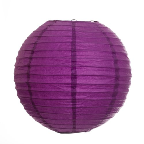 Koyal 12-Inch Paper Lantern, Plum Purple, Set of 6