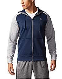 ADIDAS MENS TECH FLEECE FULL ZIP HOODED JACKET WITH CLIMAWARM TECHNOLOGY (X-Large, Navy/Grey)