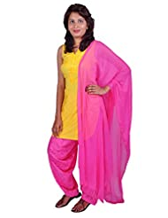 Womens Cottage Pink Cotton Jacquard Patiala & Chiffon Dupatta Set