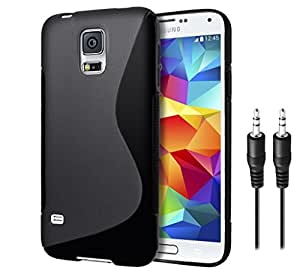 Combo Pack, High Quality Anti-Skid TPU Back Cover for Samsung Galaxy S5 with Audio AUX Cable Free