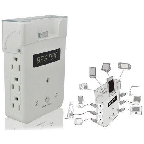 BESTEK 1875W USB Wall Charging Station & outlet splitter wall socket ac supply power adapter wall plug plate wall mounted usb surge protector strip power dock charger ac adapter home charger power switch usb charger cell phone ipod charger dock iphone 4s ipad tablet laptops blackberry samsung galaxy mp3 htc pda kindle fire MRJ1870