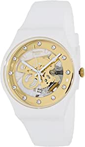 Amazon.com: Swatch SUOZ148 sunray glam white rubber strap unisex watch