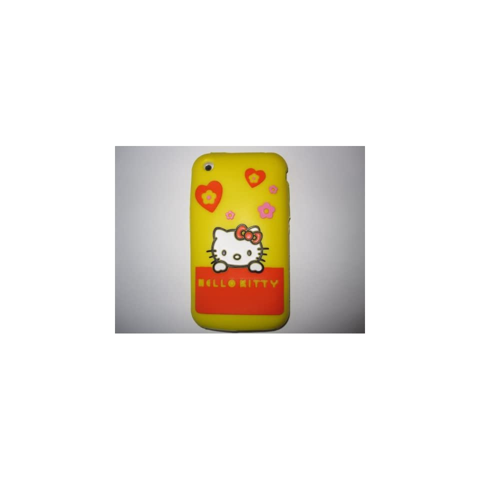 I Phone 3G 3GS light weight Shirt Pocket Hello Kitty Silicone Case / Skin Yellow
