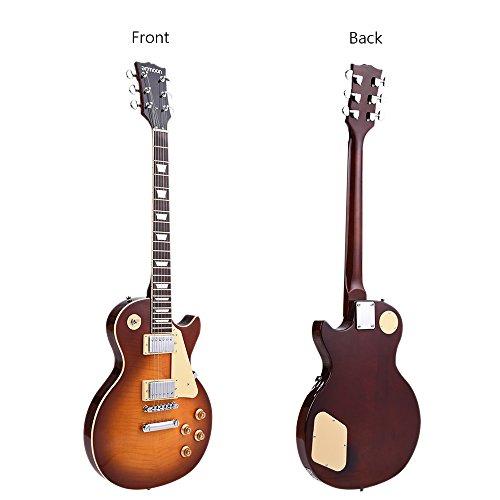 ammoon エレキギター ギター 6弦 23フレット バスウッド製 ローズウッド指板 スチール弦 デュアル・コイルピックアップ トレモロ&リズムコントロール