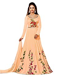Shoppingover Bollywood Party Wear Anarkali Style Salwar Kameez in Georgette Fabric-Pich Color