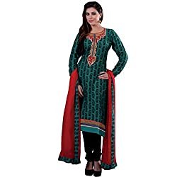 Fab Teel Green & Black Coloured Embroidered Dress Material