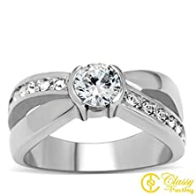 buy Classy Not Trashy® Women'S Fashion Jewelry Ring, Premium Grade High Quality Stainless Steel Clear Cubic Zirconia Cz Engagement Ring Size 8