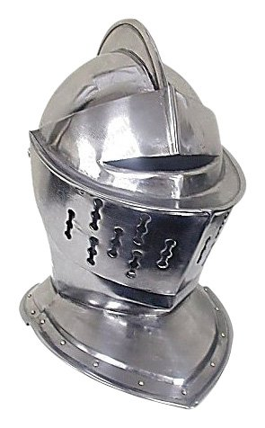 Whetstone Cutlery Medieval Knight's Helmet - Full Size Armor Helmet (Silver)