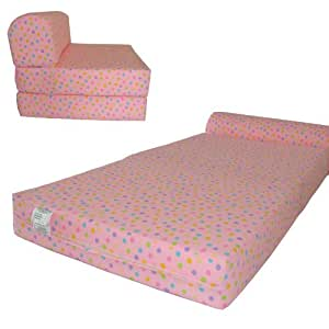 "Amazon Pink Polka Dots Sleeper Chair Folding Foam Bed Sized 6"" Thick X 32"" Wide X 70"" Long"