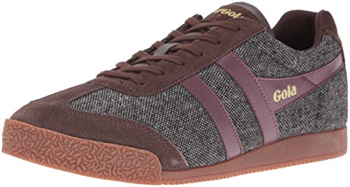 Gola Men's Harrier Woven Fashion Sneaker, Dark Brown/Burgundy, 8 UK/9 M US