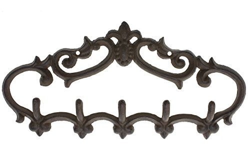 "Cast Iron Wall Hanger - Vintage Design with 5 Hooks - Keys, Towels, Clothes, Anprons - Wall Mounted, Metal, Heavy Duty, Rustic, Vintage, Recycled, Decorative Gift Idea - 12.9x 6.1""- With Screws And Anchors By Comfify - CA-1504-25-BR"