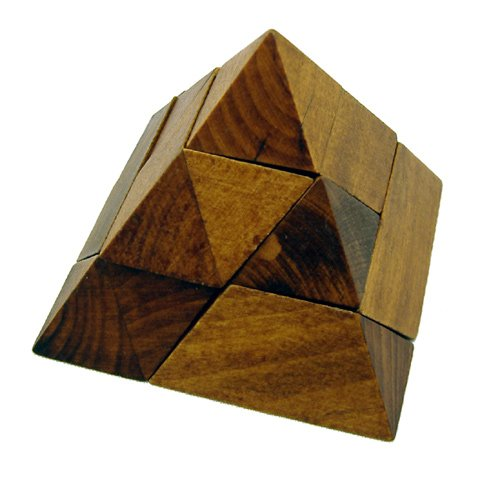Classic 3D Pyramid Hand-Crafted Wooden Puzzle, Brain Teaser, Gift Boxed - 1
