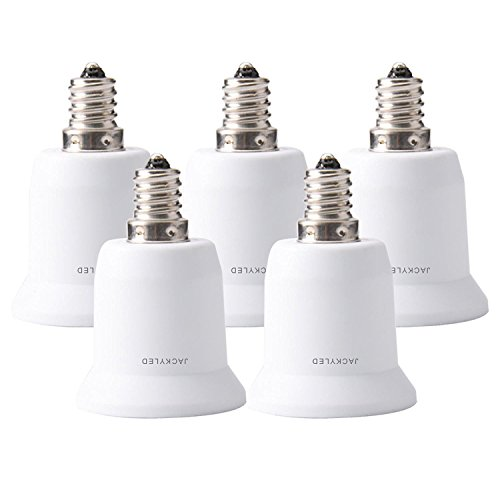 JACKYLED 5-Pack E12 to E26 / E27 Adapter Chandelier Socket (E12) to Medium Socket (E26/E27) Converter ,Max Wattage 1000W,200℃ Heat Resistant,No Fire Hazard (Outlet Light Bulb Adapter compare prices)
