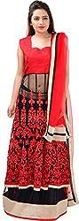 Panchi Women's Red and Black Net Lehenga (P-Jashan-5089)