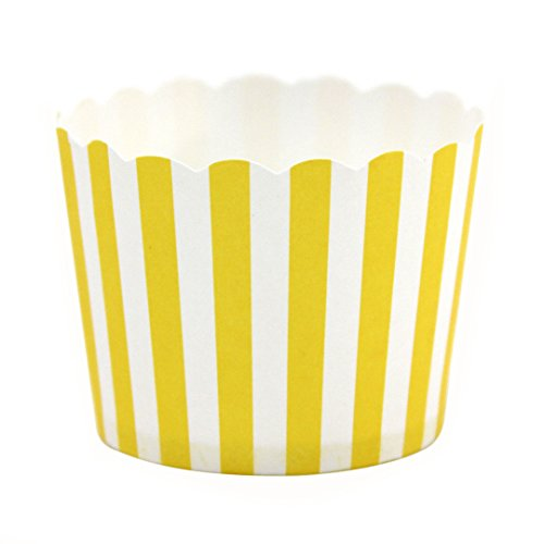 Dress My Cupcake 24-Pack Party Candy Cups, Striped, Yellow front-496030