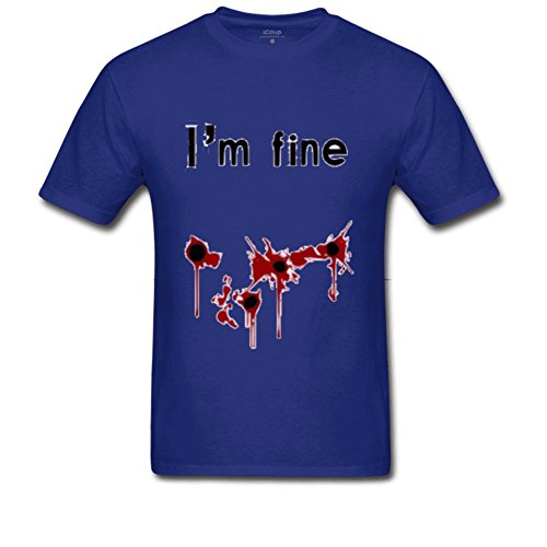iCoup Men's I'm Fine Cotton Short-Sleeve Crew Neck T-Shirt Small Royal Blue