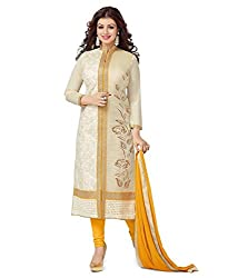 Fabfirki Exclusive Latest Arrival Cream And Yellow Dress Material