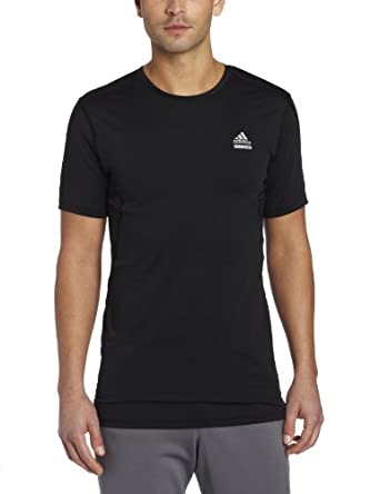 adidas Men's Techfit Fitted Short-Sleeve Top, Black, X-Large