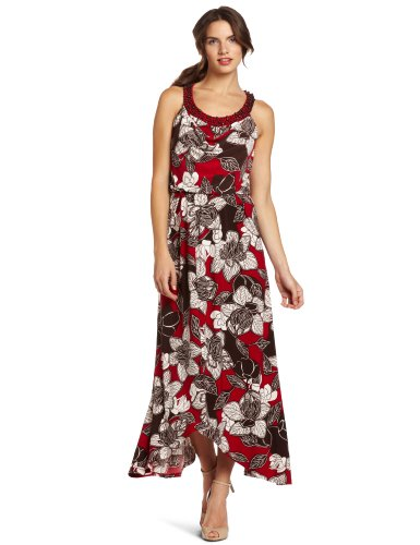 Jones New York Women's Batik Vine Matte Jersey Maxi Dress, Red, 10