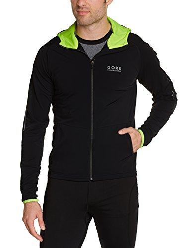 GORE RUNNING WEAR, Herren Kapuzen-Laufjacke, Essential Hoody, SHESSE990811, black/neon yellow, Gr. XXL