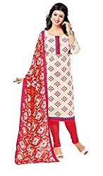 Manthan Cream Embroidered Un-Stitched Chudidar Suit