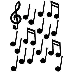 Black Musical Notes Cutouts 18ct